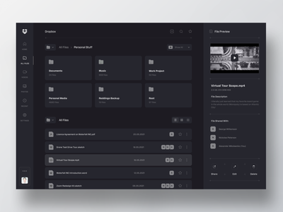 Dropbox Monochrome Kit reader folders comments documents web mobile ui uiuix futuristic minimal clean storage file manager dropbox