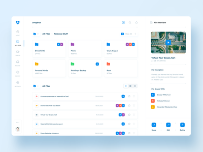 Dropbox Redesign storage documents files file manager mobile web dropbox