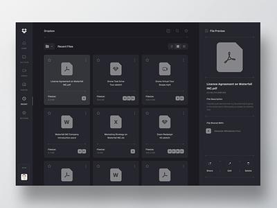 Dropbox Monochrome - Recent Files file preview options menu list file manager explorer dropbox files mobile web app minimal clean