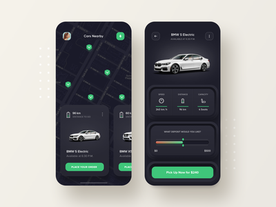 Youcar - Electric Carsharing Service rent cars dark clean web mobile ux ui app skeuomorphic electric cars