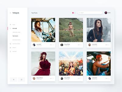 Instagram Web App navigation sidebar menu gallery photos minimal white clean instagram