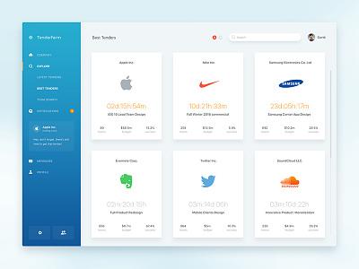 Tenderfarm for Companies cards notification menu sideber flat clean web app tender