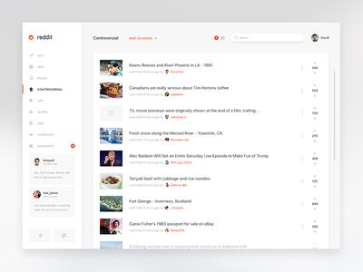 Reddit Trainy comments menu dashboard news flat white web clean reddit