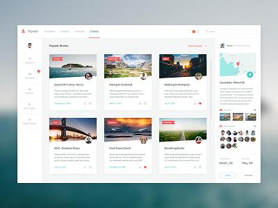 Tripsterr - Travel Concept sidebar news white clean web menu cards social travel