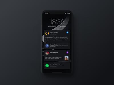 iPhone X Notifications Dark Mode