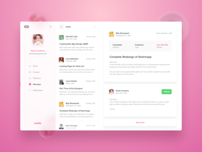 Dribbble Client - Messages for Mac OS sidebar fluent mac os clean inbox mail chat messages dribbble