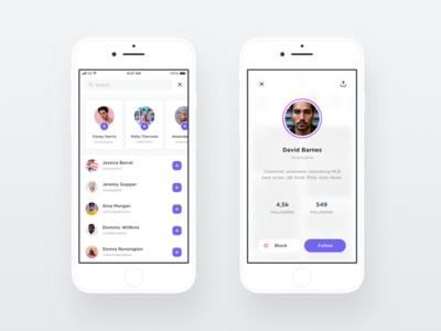 Search & Profile Screens cards list add user contacts search profile white ios
