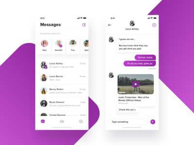 Chat App for iPhone X clean contacts message favorites cards profile iphone x app chat