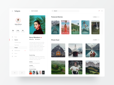 Instagram Profile Redesign dailyui minimal dashboard user navigation sidebar profile gallery white clean stories instagram stories instagram