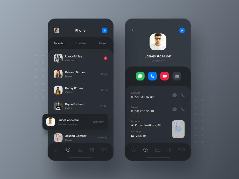 iOS 13 Dark Theme Phone App Concept recents contacts phonebook minimal dark profile phone app caller ios 13