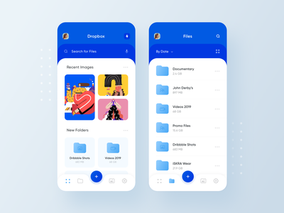 Realistic Dropbox Redesign Concept search menu gallery files folders file manager clean ios 13 redesign dropbox