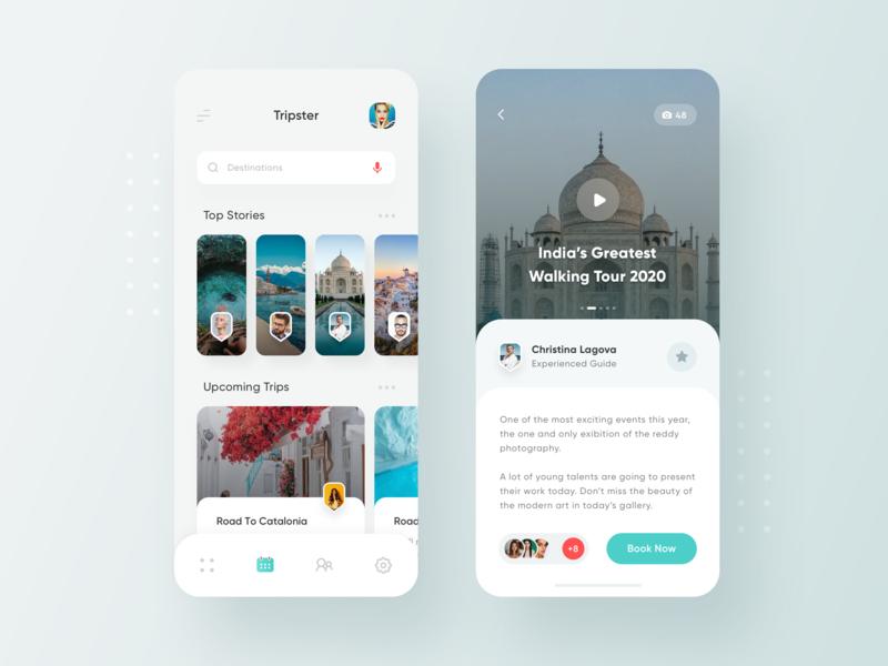 Traveler Social App Concept travel app clean booking social post stories ios travel