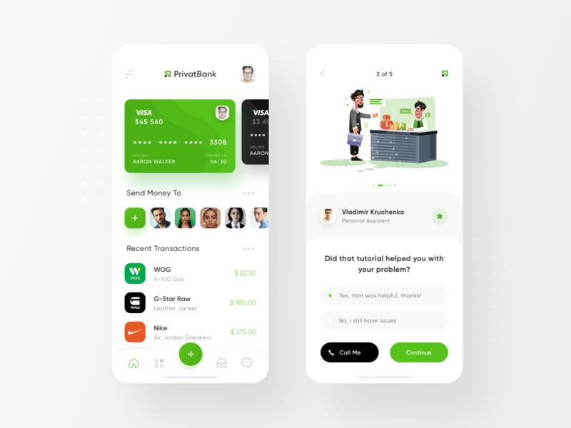 PrivatBank App Redesign Wallet & Help Center white minimal ios13 credit card bank app ios finance clean wallet banking app privatbank privat24
