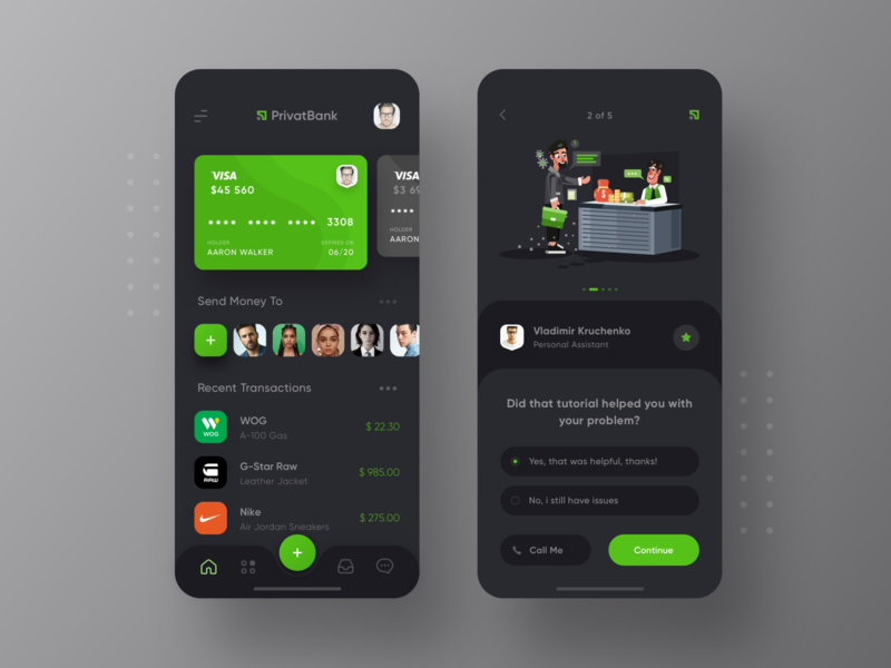 PrivatBank Redesign Dark Mode help center tutorials finance app bank clean minimal app dark privatbank ios13