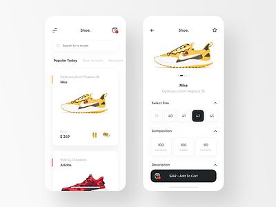 Shoe. - Sneakers Shop App details sale store simple ios ux ui. app white clean shop sneakers shoes