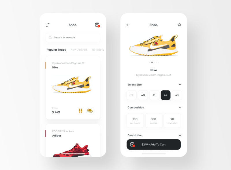 Shoe. - Sneakers Shop App details sale store simple ios ux ui. app white clean shop sneakers shoes
