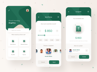 Money Send Financial App cards minimal illustration contacts money management clean web mobile uiux ui ios transfer money transfer financial app send money bank money
