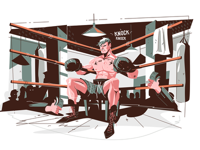 Boxer getting ready before final round kit8 flat vector illustration character man ring glove boxing athlete round boxer
