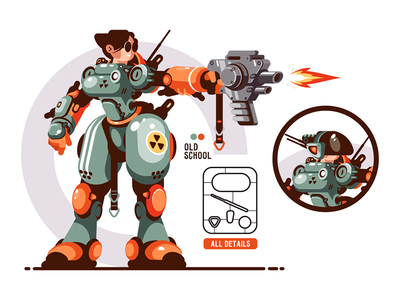 Girl combat in exoskeleton kit8 flat vector illustration character girl cyborg transformer robot battle
