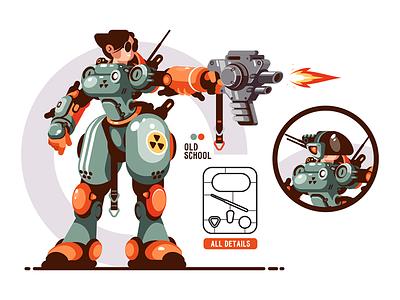 Girl combat in exoskeleton kit8 flat vector illustration character girl cyborg transformer robot battle