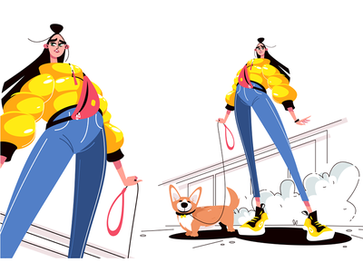 Girl walking with dog kit8 flat vector illustration character leash walking girl dog