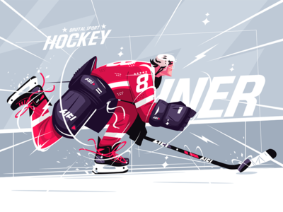 Hockey player on ice field kit8 flat vector illustration character outfit man field ice player hockey
