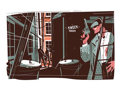 Gangster hiding in dark kit8 flat vector illustration character man pistol dark hide mobster gangster