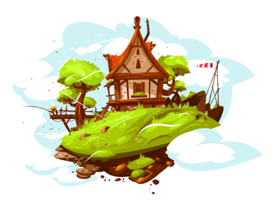 Cozy house in village kit8 flat vector illustration cottage village home house