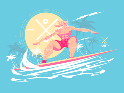 Guy riding a surfboard on the crest of a wave kit8 flat vector illustration character wave ocean surfboard surfer man guy