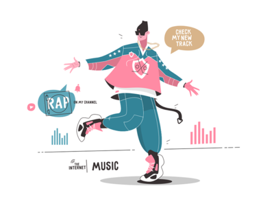 Rap artist promotes his new album kit8 flat vector illustration character app dance blogger guy man music internet