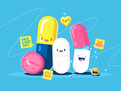 Funny tablets characters kit8 flat vector illustration capsule pill character tablet funny