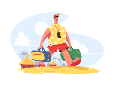 Traveller with luggage kit8 flat vector illustration character beach go man smile happy luggage traveller
