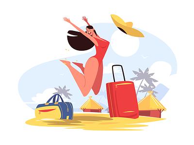Happy smiling girl on beach kit8 flat vector illustration character beach girl smile happy