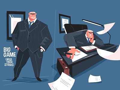 Big boss on workplace kit8 flat vector illustration character sit man screaming evil workplace boss big