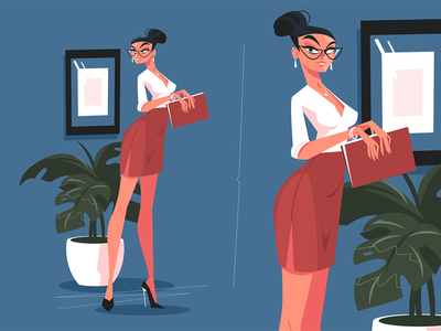 Cute secretary in office kit8 flat vector illustration character skirt mini woman attractive office secretary