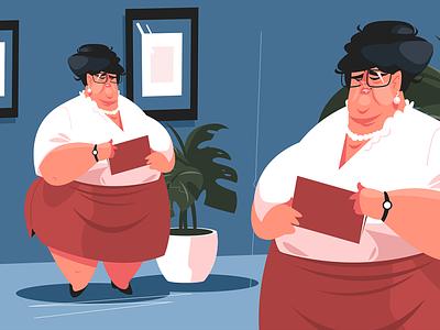 Chief office secretary kit8 flat vector illustration character skirt chief woman fat office secretary