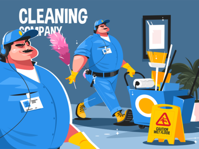 Cleaning company service kit8 flat vector illustration character office man uniform service company cleaning