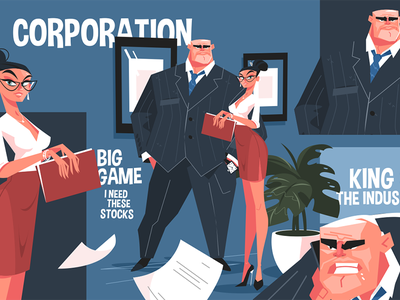 Big corporation boss kit8 flat vector illustration character secretary screaming evil workplace corporation boss big