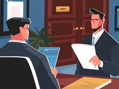 Recruiting in business kit8 flat vector illustration character man interview job manager business recruiting
