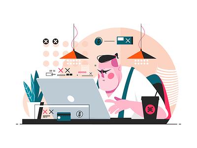 Programmer working on laptop kit8 flat vector illustration character man office laptop work programmer