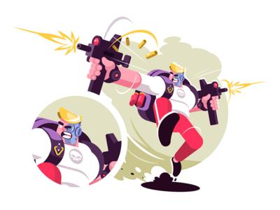 Strike game player character man shooting weapon game strike player kit8 flat vector illustration