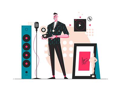 Music star reward kit8 flat vector illustration character music man reward star pop