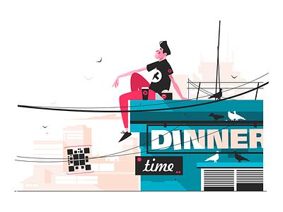 Guy eating snacks on roof kit8 flat vector illustration character man roof snack eating guy