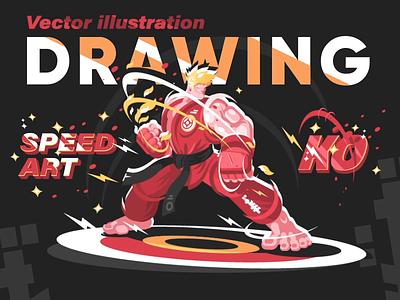 Karate man in kimono - Speed Art Drawing vector illustration timelapse kit8 sport firghter man drawing art karate video flat vector process illustration