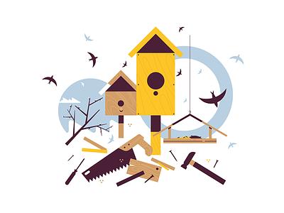 Spring starling sitting on wooden birdhouse kit8 flat vector illustration bird birdhouse wooden sitting starling spring