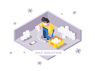 Isolation at home kit8 flat vector illustration virus toilet protected paper home person