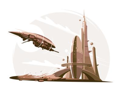 Future architecture kit8 flat vector illustration skyscraper air spaceship architecture future