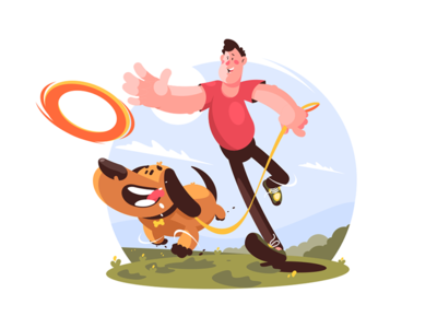 Man playing with dog in park kit8 flat vector illustration character park dog playing walking man