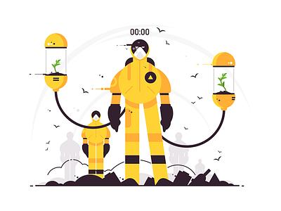 Environmental, sanitary and antiviruses protect character kit8 flat vector illustration man protect antivirus sanitary