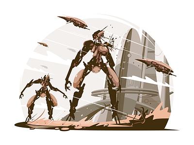 Cyborgs on battle field kit8 flat vector illustration character battlefield field battle cyborg